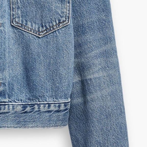 Levis 女款 古著牛仔外套 / Oversize寬鬆方正版型 / 精工仿舊貓鬚水洗 / 天絲棉