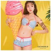 Catworld 寧靜粉藍。撞色條紋綁帶泳裝組【16600314】‧F