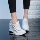 手工真皮女鞋32~40 2020頭層牛皮10cm內增高繫帶小白鞋內增高鞋 坡跟厚底韓百搭休閒鬆糕鞋~3色