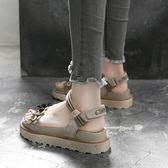 涼鞋平底休閒增高厚底學生真皮鬆糕涼鞋女  野外之家