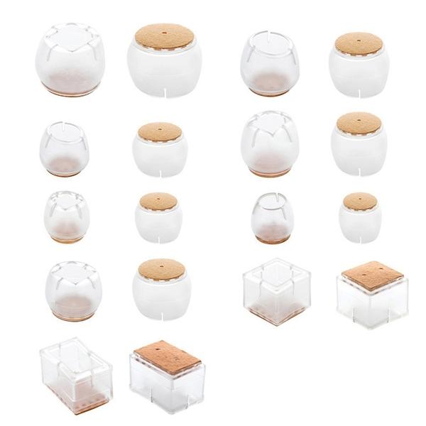 透明軟膠桌腳套 4個裝 柔韌耐磨 防滑桌腳墊 防刮椅腳套 椅腳保護墊【UA110】《約翰家庭百貨