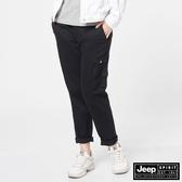 【JEEP】女裝鬆緊抽繩休閒長褲-黑色
