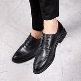 春新款韓版休閒皮鞋黑色尖頭青年商務正裝男鞋百搭內增高潮鞋 後街五號