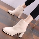 高跟短靴 粗跟圓頭短靴女單靴高跟鞋2020新款 韓版 秋冬季百搭瘦瘦靴馬丁靴【全館免運】