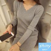 【V8033-1】shiny藍格子-瑕疵特賣.純色V領修身顯瘦長袖針織連身裙