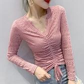蕾丝打底衫 2020秋裝新款性感V領抽繩上衣女百搭洋氣蕾絲鏤空長袖修身打底衫 Cocoa
