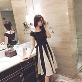 露背洋裝 很仙的套裝裙夏季新款性感露背黑白中長款T恤連身裙兩件套女 交換禮物