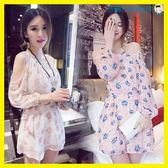 夏裝韓版女裝長袖一字領露肩洋裝洛麗的雜貨鋪