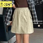 短裙--遮肉顯瘦鬆緊褲頭兩側大口袋附安全褲燈心絨A字裙(黑.卡其L-5L)-Q128眼圈熊中大尺碼◎