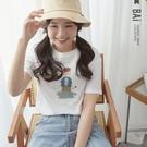 韓風女孩印圖圓領短袖T恤上衣-BAi白媽...