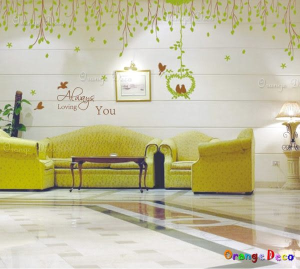 壁貼【橘果設計】愛情鳥 DIY組合壁貼/牆貼/壁紙/客廳臥室浴室幼稚園室內設計裝潢