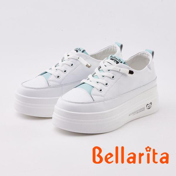 bellarita. 真皮綁帶厚底休閒鞋(0404-50白藍色)
