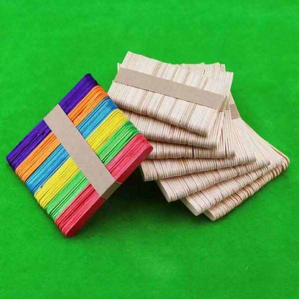 【BlueCat】彩色 冰棒棍材料包 (50入) (15*1.8cm) 木棍 木棒 冰棍 雪糕棍 美勞 兒童 DIY