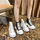 帆布鞋 帆布高筒鞋女春秋新款百搭休閒老爹鞋學生厚底松糕小白鞋-Ballet朵朵