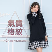 長袖洋裝--簡約休閒百搭風格羅紋圓領開衩假兩件剪接格紋洋裝(黑L-3L)-A319眼圈熊中大尺碼