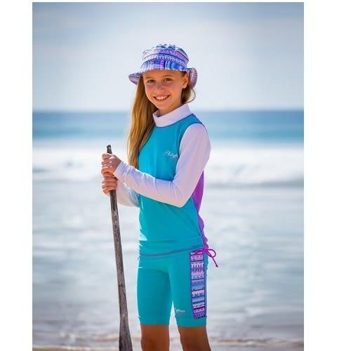兒童泳衣  防曬長袖上衣+馬褲套組  好萊塢媽咪風靡 XtraLife萊卡 澳洲鴨嘴獸UPF50+抗UV(大女8-14歲)