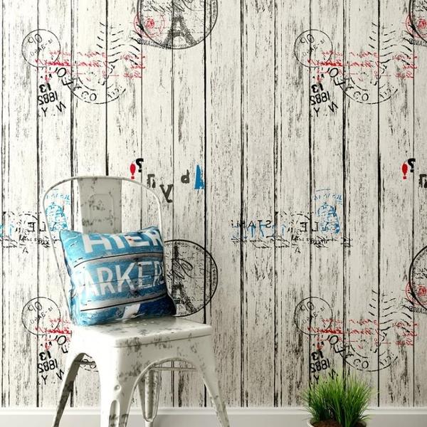 墻紙壁紙自粘寢室防水木紋復古客廳臥室背景墻【步行者戶外生活館】
