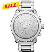 DIESEL 忍者戰將時尚晶鑽計時腕錶/手錶-銀 DZ5337