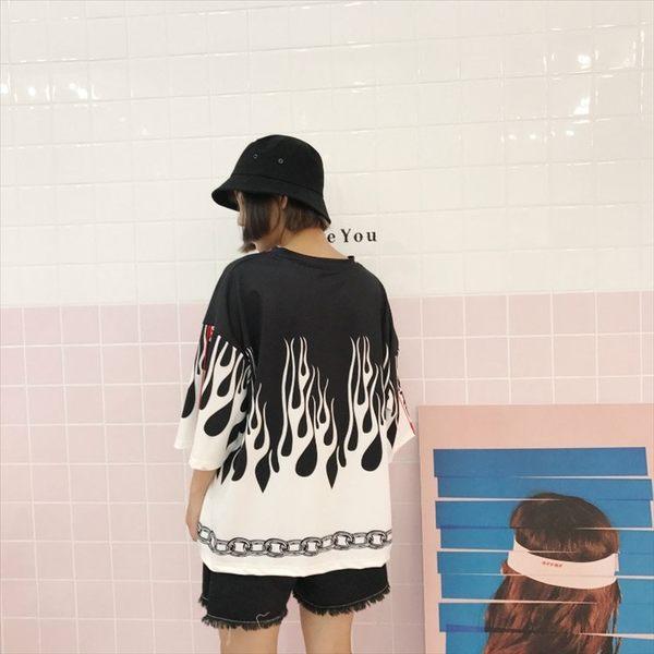 日系時尚火焰圖案印花休閒寬鬆五分袖 短袖T恤