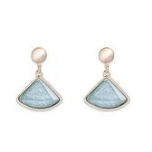 防抗過敏 貓眼石 扇形水晶 垂墜耳環耳針釘-粉色、藍色水晶