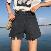 韓版高腰毛邊闊腿褲寬鬆百搭短款牛仔褲短褲顯瘦直筒褲潮    琉璃美衣