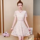 短袖裙子女夏季2020新款韓版中長款修身顯瘦小個子遮肚蕾絲洋裝 HX4513【花貓女王】