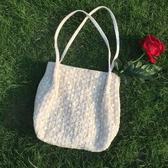秋冬仙女蕾絲百搭大容量水桶手提草編編織包包女單肩小清新購物袋