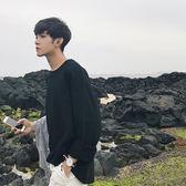 春季新款男士長袖T恤韓版黑色寬鬆薄