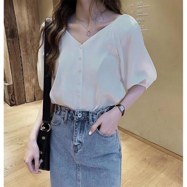 【GZ3E1】春夏新款韓版時尚寬鬆雪紡衫女短袖上衣洋氣襯衣純色打底衫潮797#