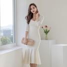歐媛韓版 長袖洋裝 新款性感低胸V領晚宴禮服裙女人味修身包臀魚尾連身裙