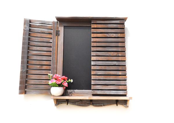 復古作舊 假百葉窗黑板 大尺寸留言板 木質ZAKKA擺設 裝飾留言板 雜貨 餐廳 日式