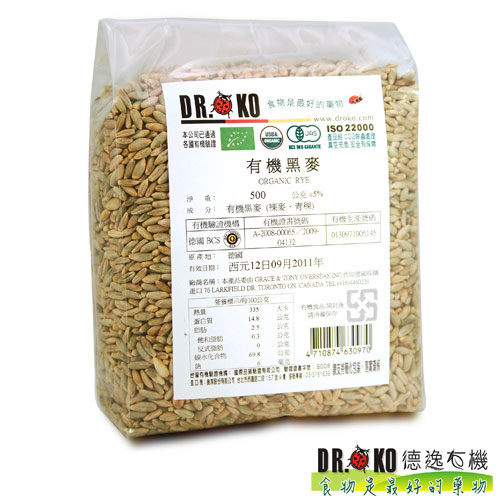 DR.OKO德逸 有機小麥/有機黑麥(裸麥、青稞) 500g/包