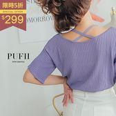 PUFII-針織上衣 簡約直坑條肩帶交叉短袖針織上衣 2色-0628 現+預 夏【CP14895】