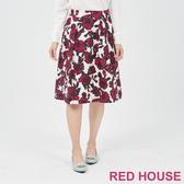 【RED HOUSE 蕾赫斯】印花打褶裙(紫色)