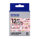 EPSON LK-4PBY C53S654450 Kitty系列蘋果款粉紅底黑字標籤帶 寬度12mm
