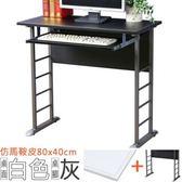 【Homelike】查理80x40工作桌(仿馬鞍皮-附鍵盤架)桌面-白 / 桌腳