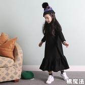 黑色大裙擺長裙長袖衛衣洋裝 (大人賣場) 親子裝 橘魔法 Baby magic 現貨 親子裝 大人款 連身裙
