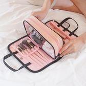 店長推薦ins網紅化妝包手提洗漱包簡約便攜多功能收納盒隨身少女心化妝包