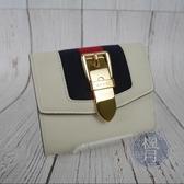 BRAND楓月 GUUCI古馳 476081 SYLVIE 白色皮革 金釦 紅藍織帶 三折 短夾 錢包 錢夾