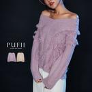PUFII-針織上衣 V領流蘇針織毛衣-1128 現+預 冬【CP17639】