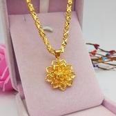 仿真金條 時尚鍍金四葉草項鏈女款黃金色百搭仿真沙金項鏈甜美花朵吊墜飾品