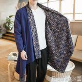 唐裝披風中式唐裝改良漢服中國風男裝居士披風外套民族風古裝禪服道袍長衫 爾碩數位
