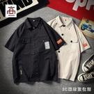 夏季日系復古工裝短袖襯衫男士寬鬆大碼胖子潮流上衣半袖襯衣外套 EY11370『3C環球數位館』