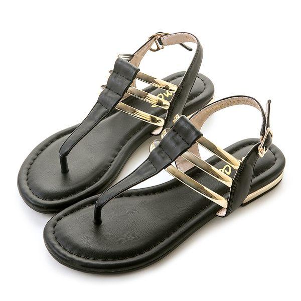 amai《12星座 - Aries牡羊座》埃及風簡約金屬T字夾腳涼鞋 黑