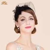 帽子 EE 夏季新款網紗發箍 通勤出游宴會小禮帽 神秘黑色頭箍2309