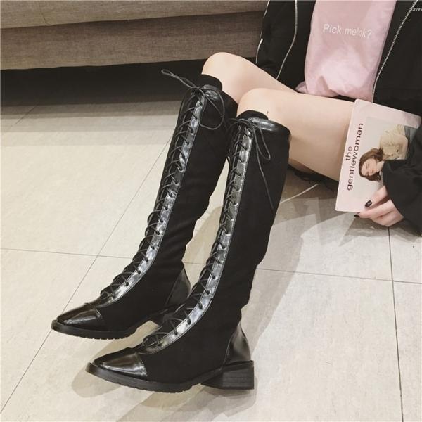 複古馬丁靴女英倫風複古系帶秋冬新款粗跟過膝長筒靴原宿氣質女鞋