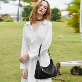 真皮側背包-牛皮簡約大容量純色女肩背包2色73yp49【巴黎精品】