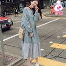 【愛天使孕婦裝】韓版(83467)甜美紗質拼接 韓版哺乳衣洋裝 孕婦裝