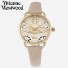 【萬年鐘錶】 Vivienne Westwood  英國時尚  鏤空造型皮革腕錶  金色  42mm  VV163BGPK
