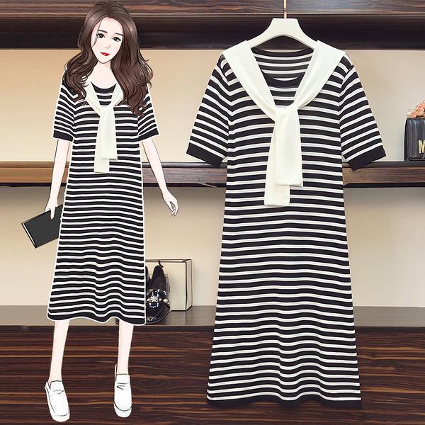 VK旗艦店 韓系時尚條紋大碼寬鬆假兩件袖領短袖洋裝